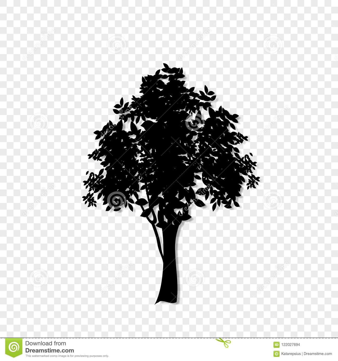 Black Silhouette Of Leafed Tree Icon Isolated On