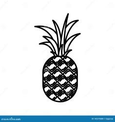 pineapple silhouette fruit vector