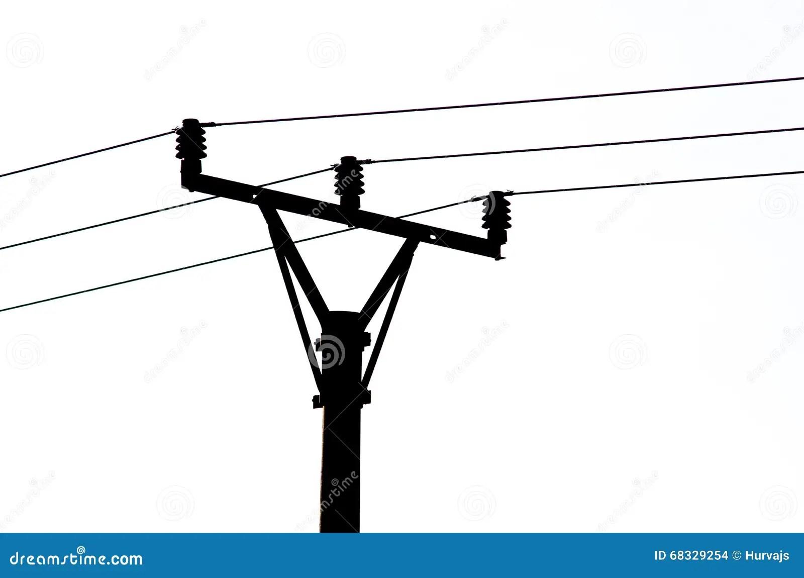 Black Silhouette Of Power Line Stock Illustration