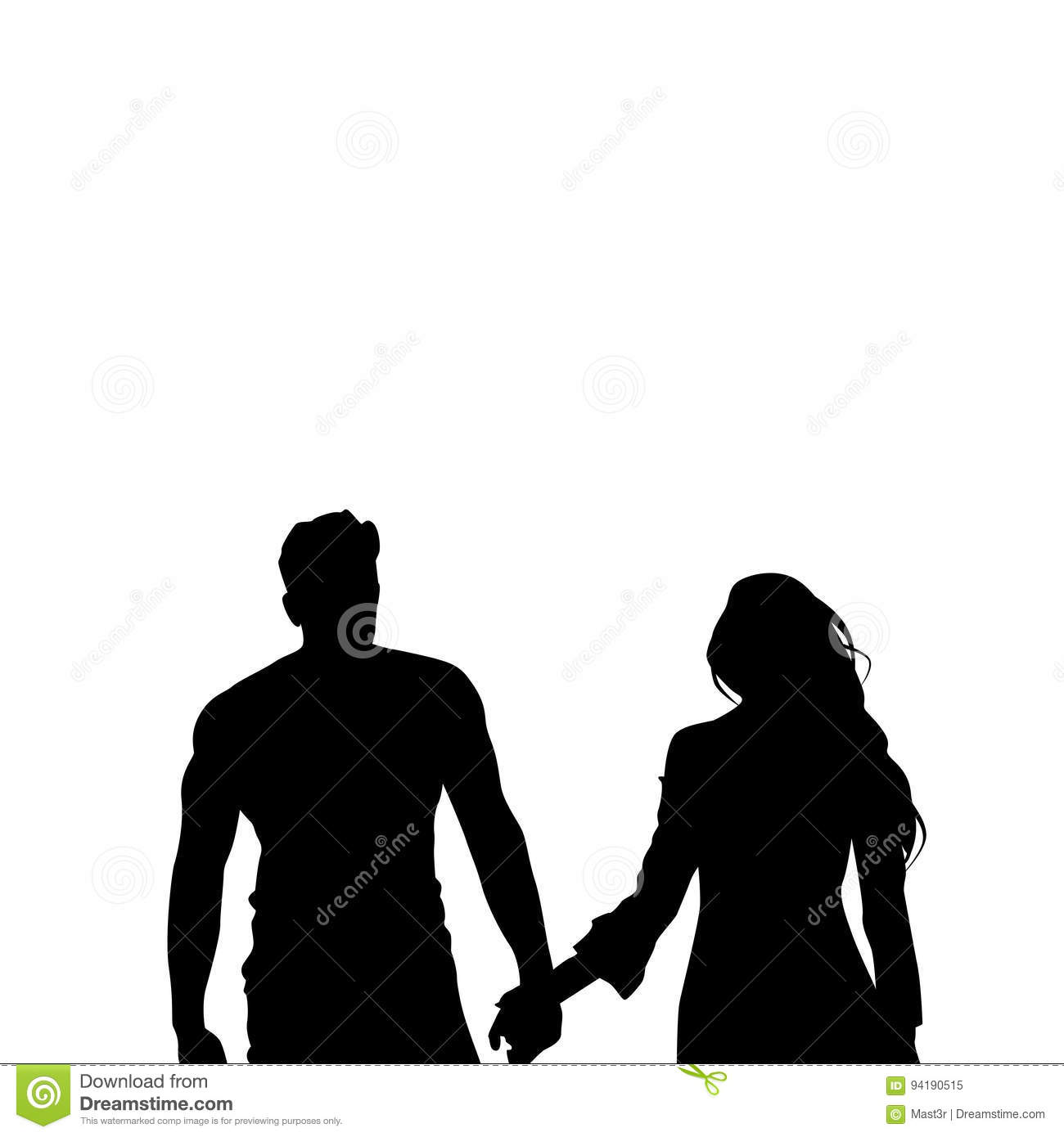 black silhouette romantic couple holding hands isolated over white