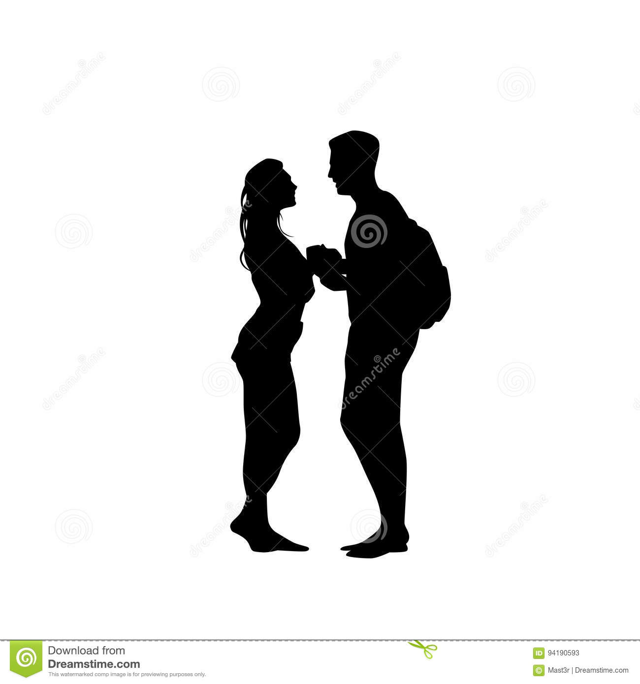 black silhouette romantic couple holding hands looking at each