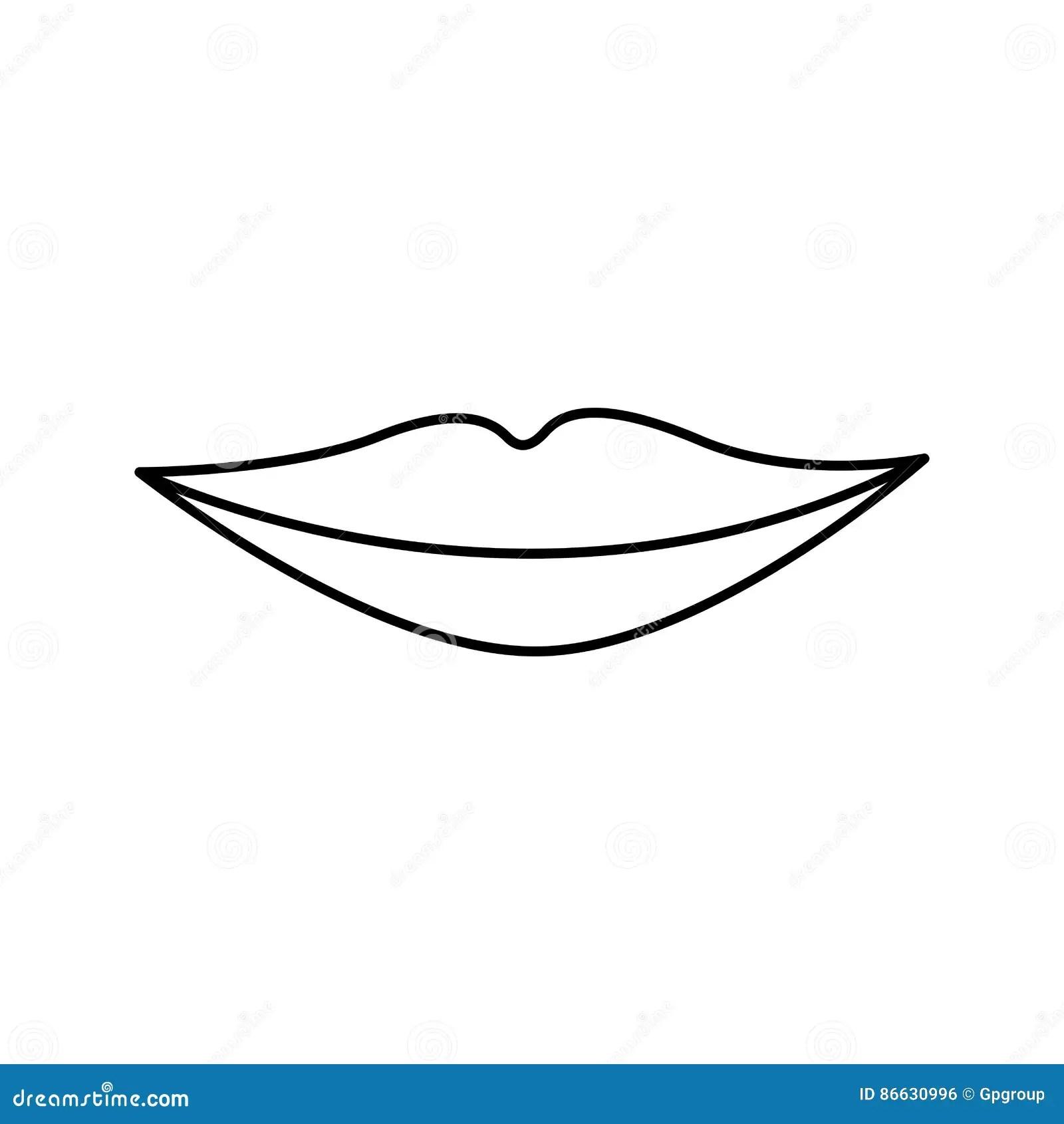 Black Silhouette Woman Lips Icon Stock Illustration