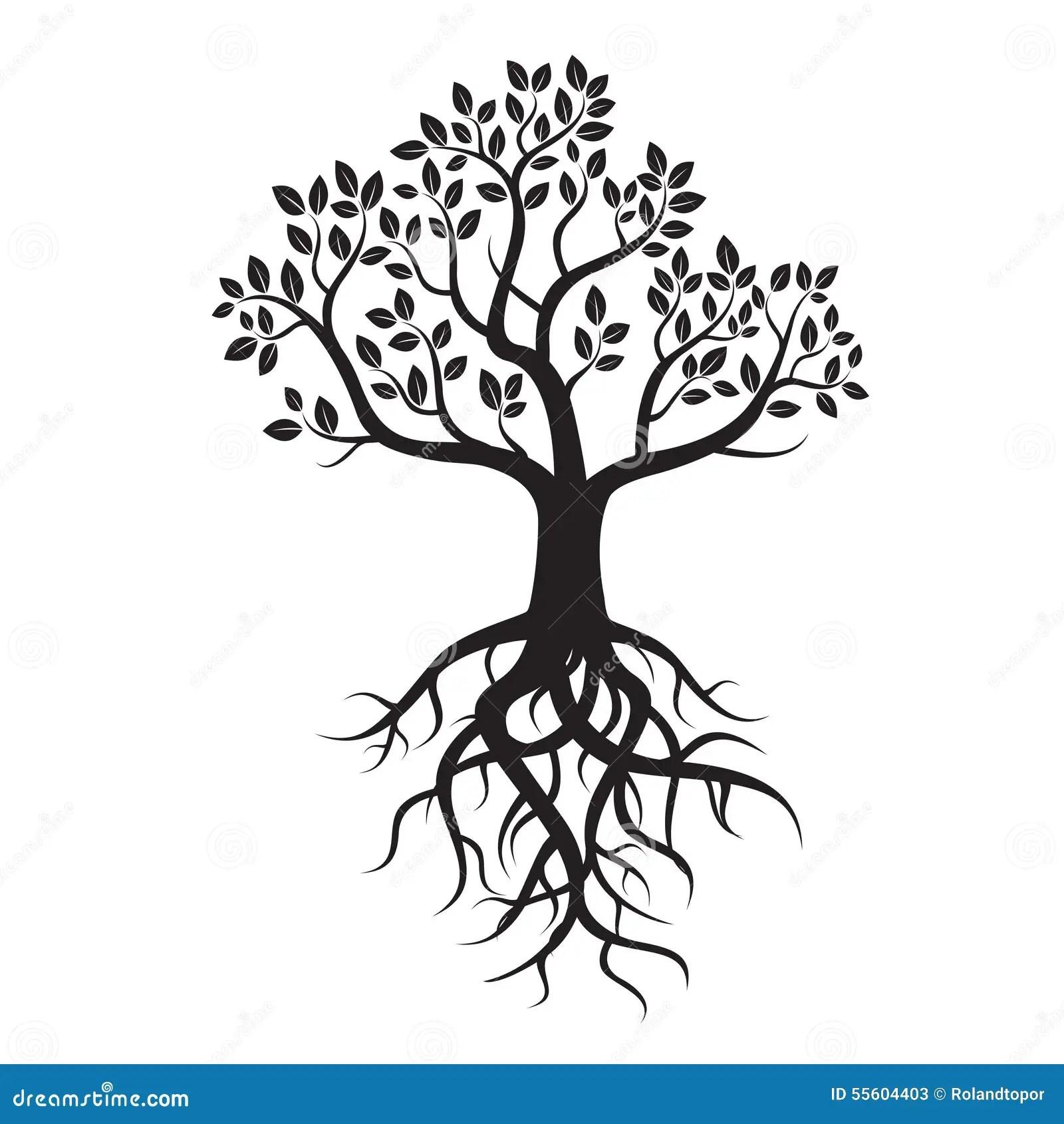 Black Tree And Roots Stock Illustration Illustration Of