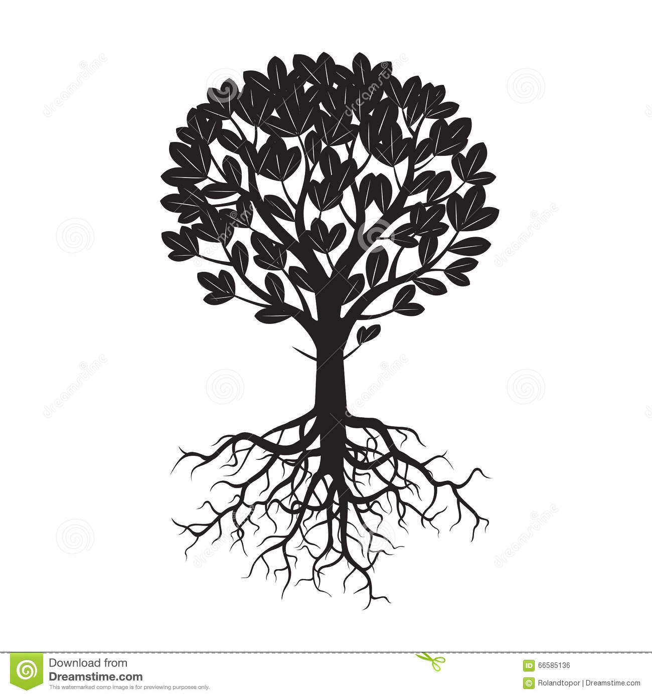 Black Tree And Roots Vector Illustration Stock