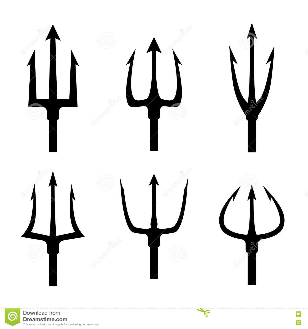 Black Trident Silhouette Vector Set Stock Vector