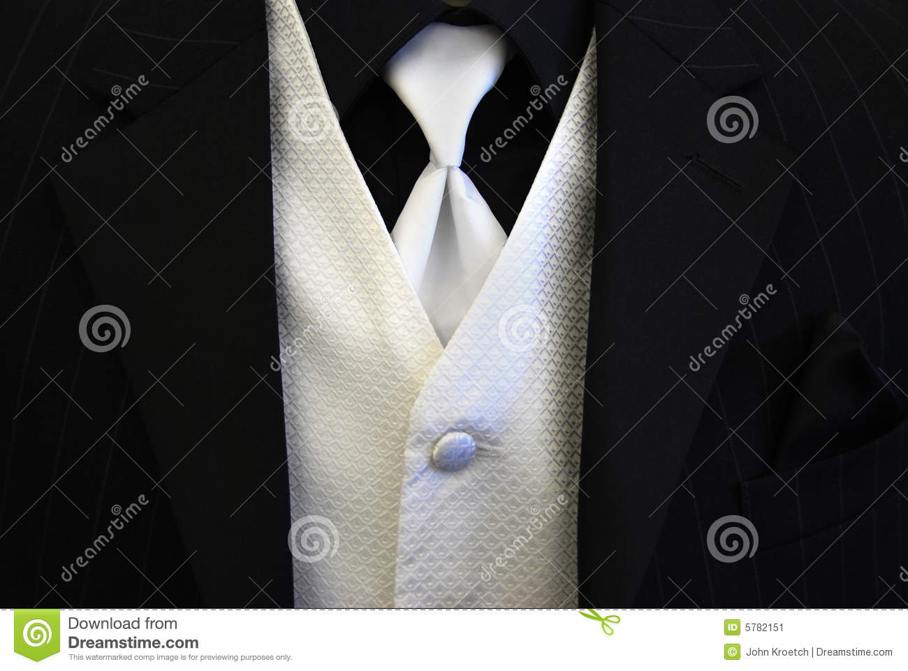 Black Tuxedo White Tie And Vest Stock Image