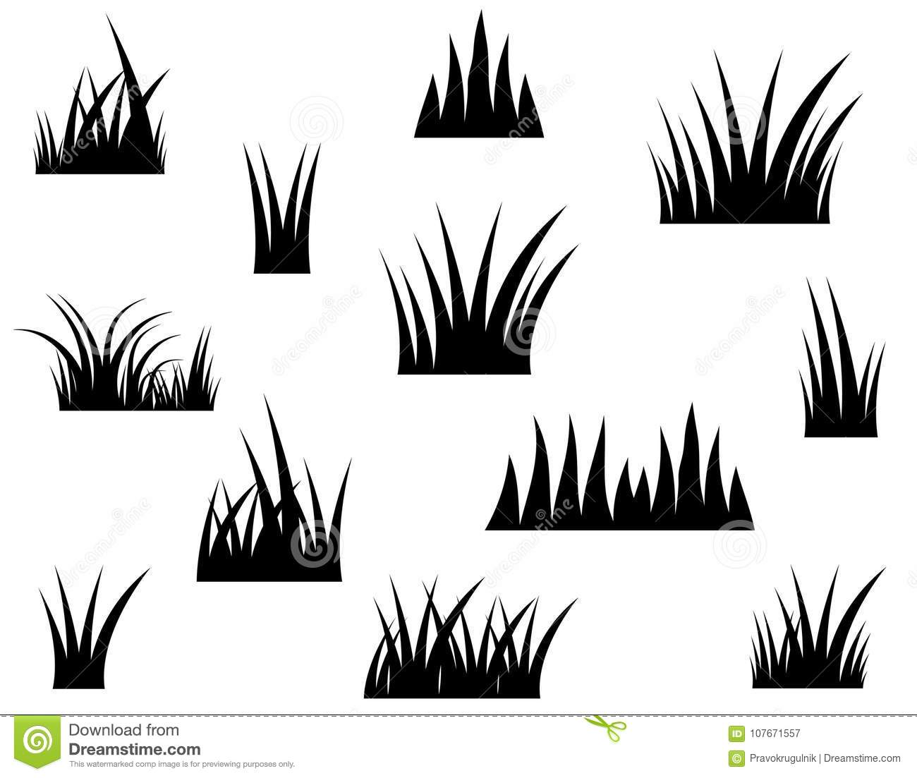 Black Vector Grass Silhouette Drawing Stock Vector