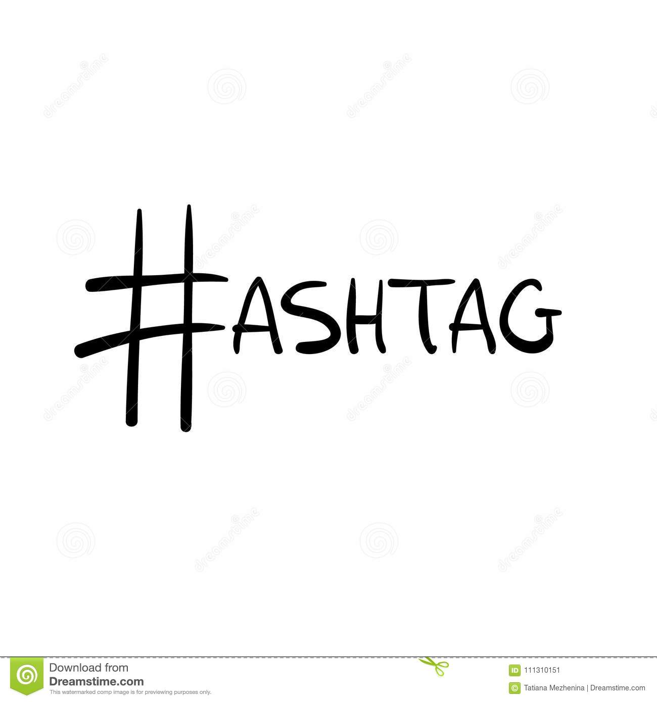 Black Vector Hashtag Sign As Letter H In Word Stock Vector
