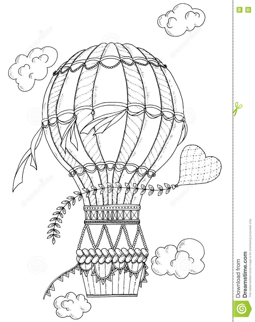 Black And White Air Balloon And Doodle Heart Stock Vector