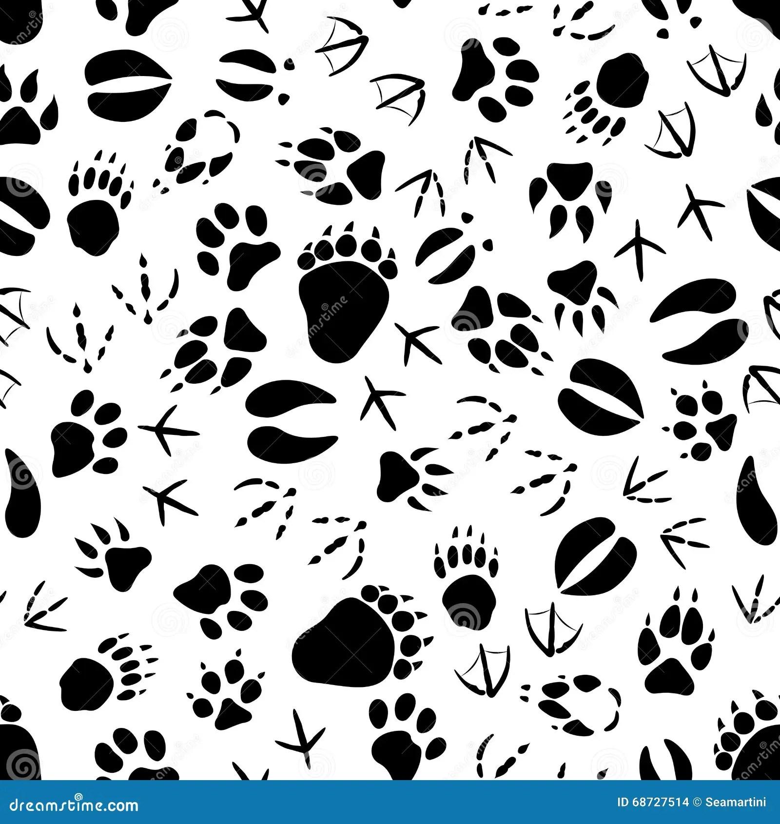 Black And White Animal Tracks Pattern Stock Vector