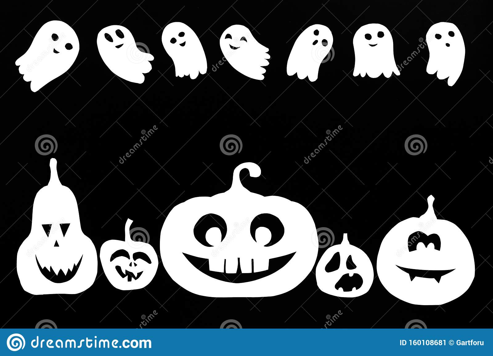 Black And White Background From Pumpkins And Ghosts Cut