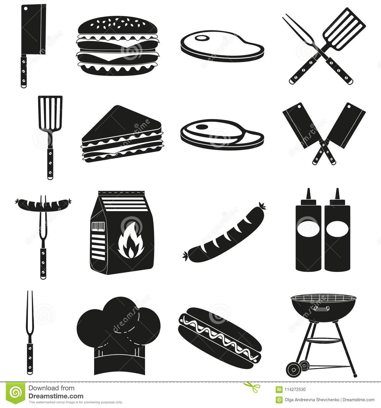 Black White Bbq Outdoors 16 Element Silhouette Set Stock
