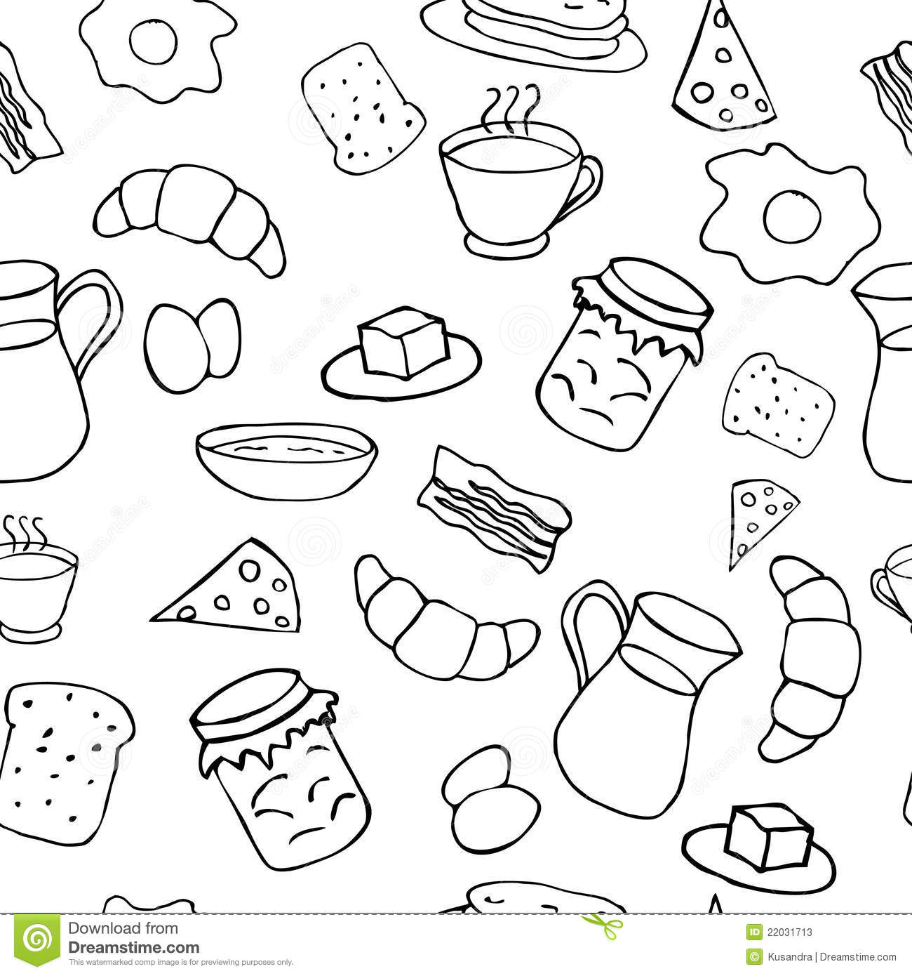 Black And White Breakfast Theme Stock Vector