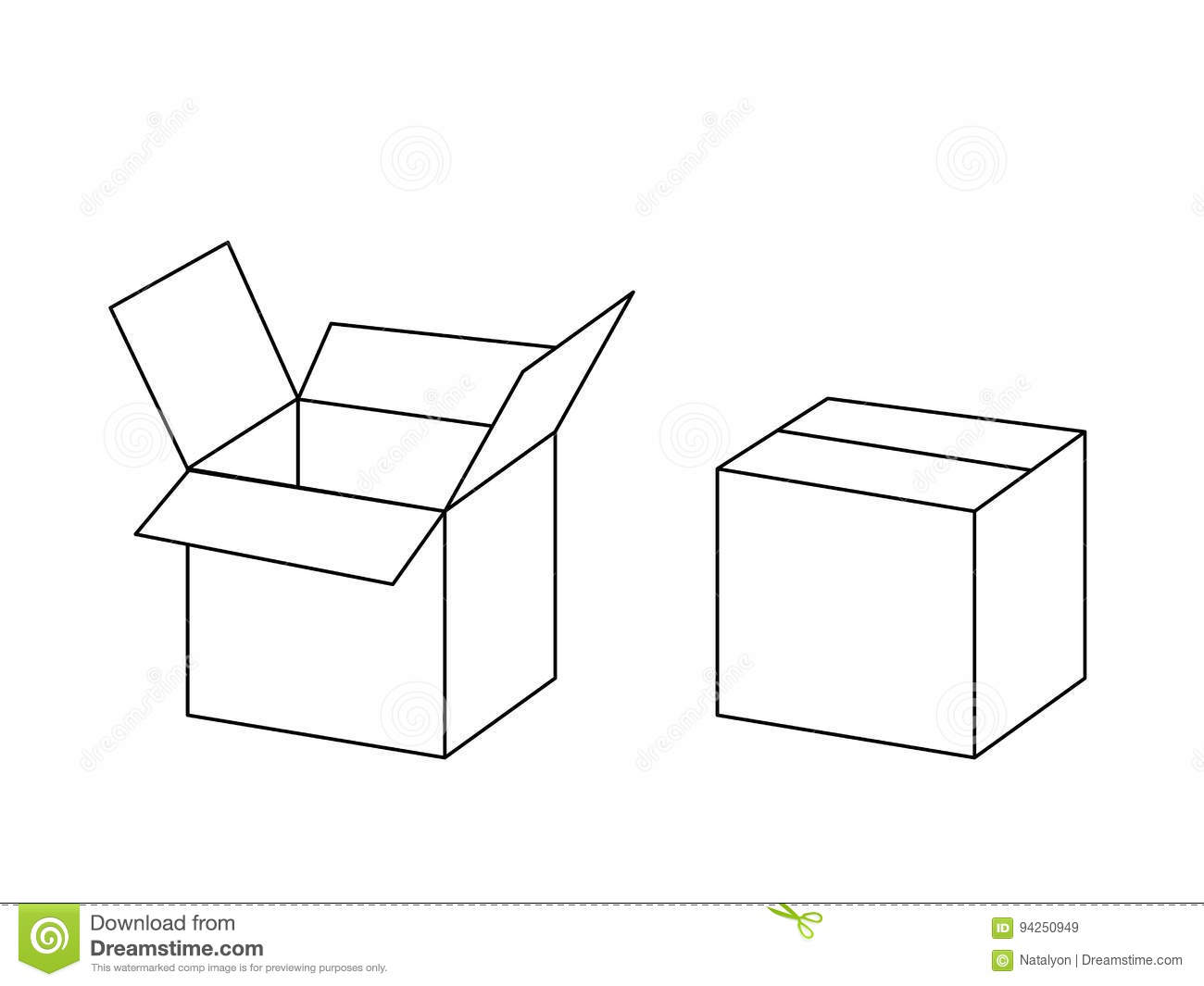 Black And White Cardboard Box Package Open And Closed