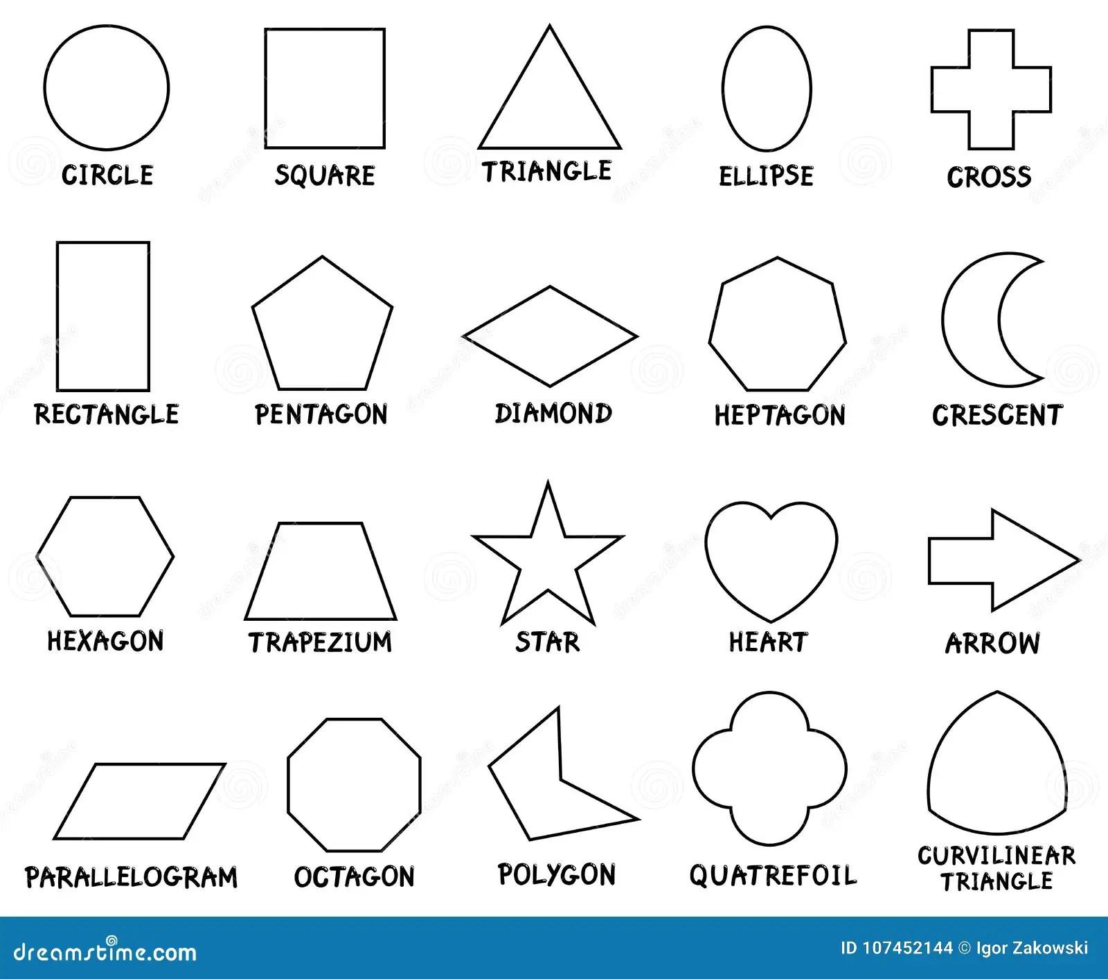 Education Basic Geometric Shapes With Captions Stock