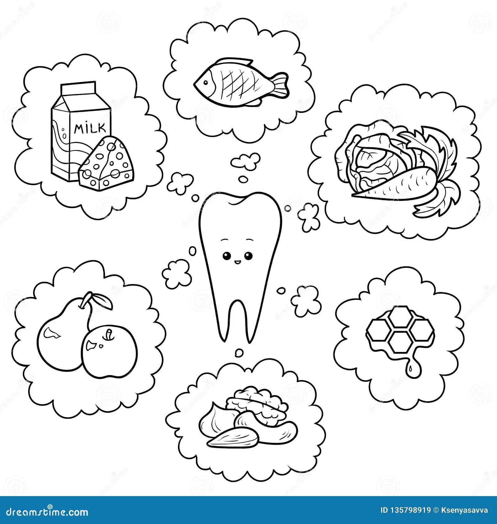 Black And White Cartoon Illustration Good Food For Teeth