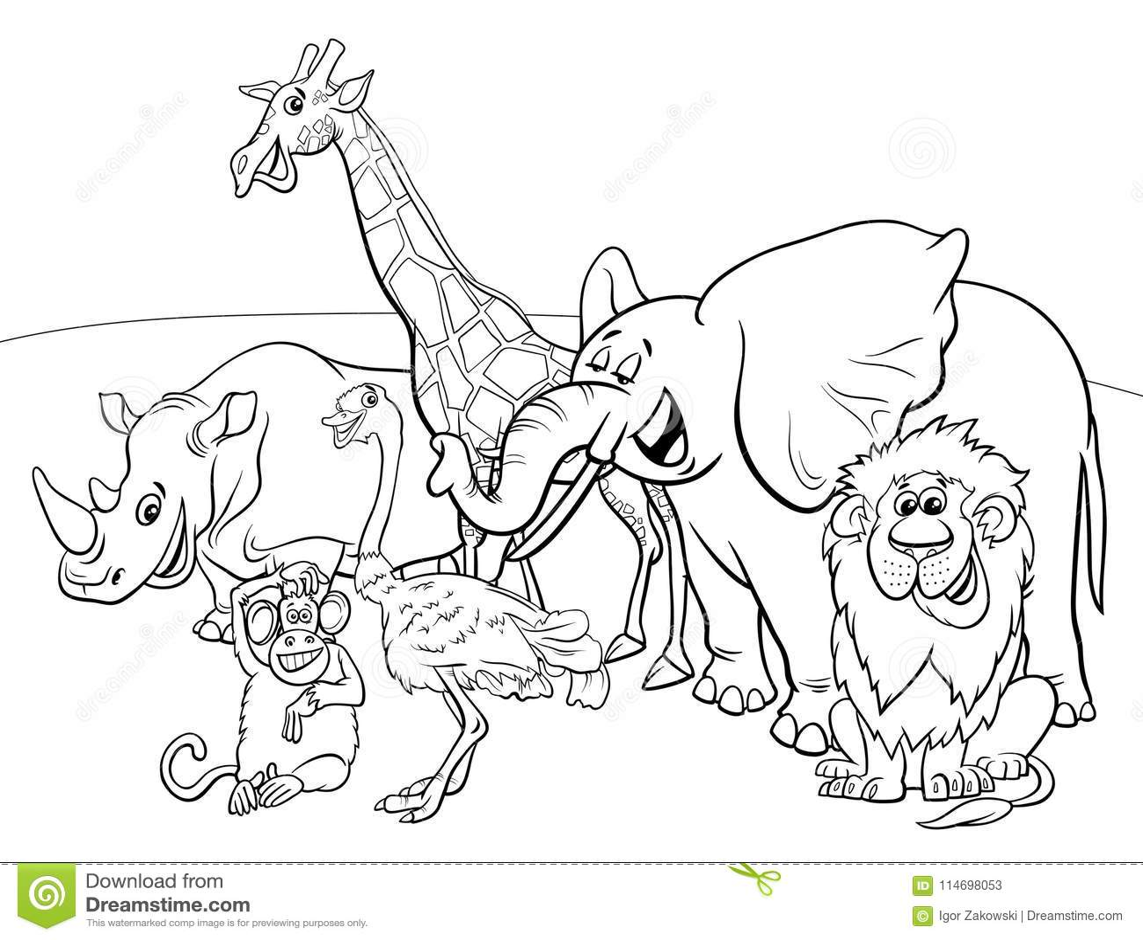 Cartoon Safari Animal Characters Coloring Book Stock