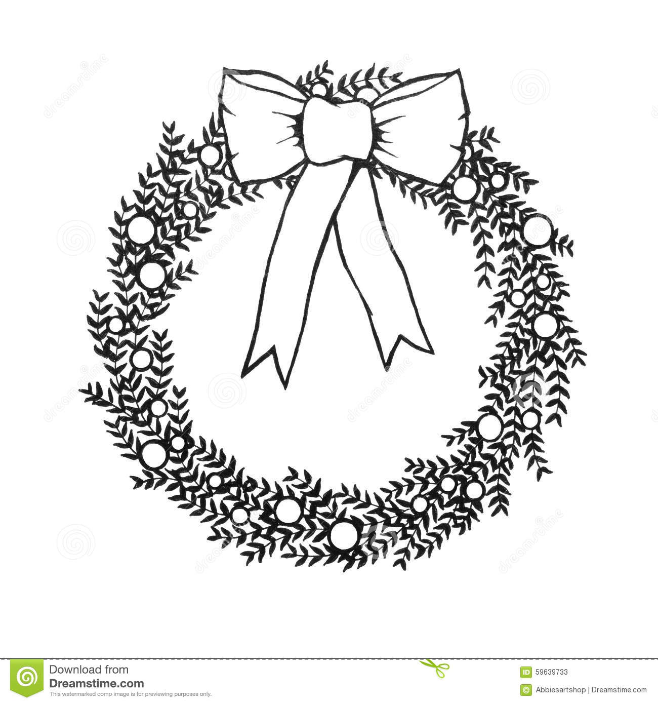 Black And White Christmas Wreath With Bow Hand Drawn