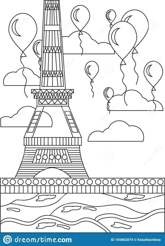 Black and White Coloring Page Eiffel Tower Stock Vector