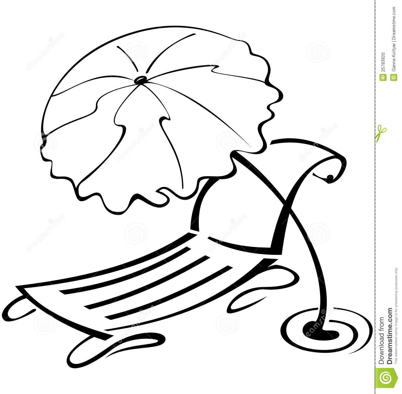 Black And White Contour Umbrella And Beach Chair Stock
