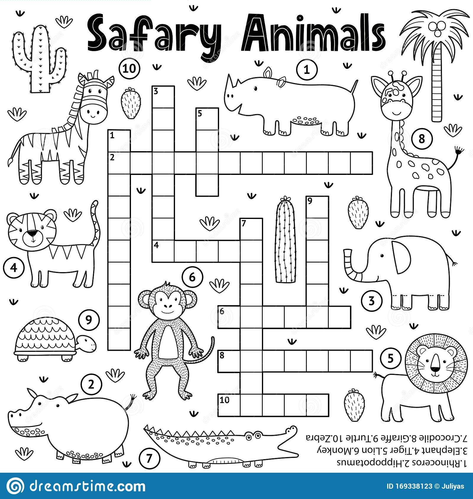 Black And White Crossword Game For Kids With Safari
