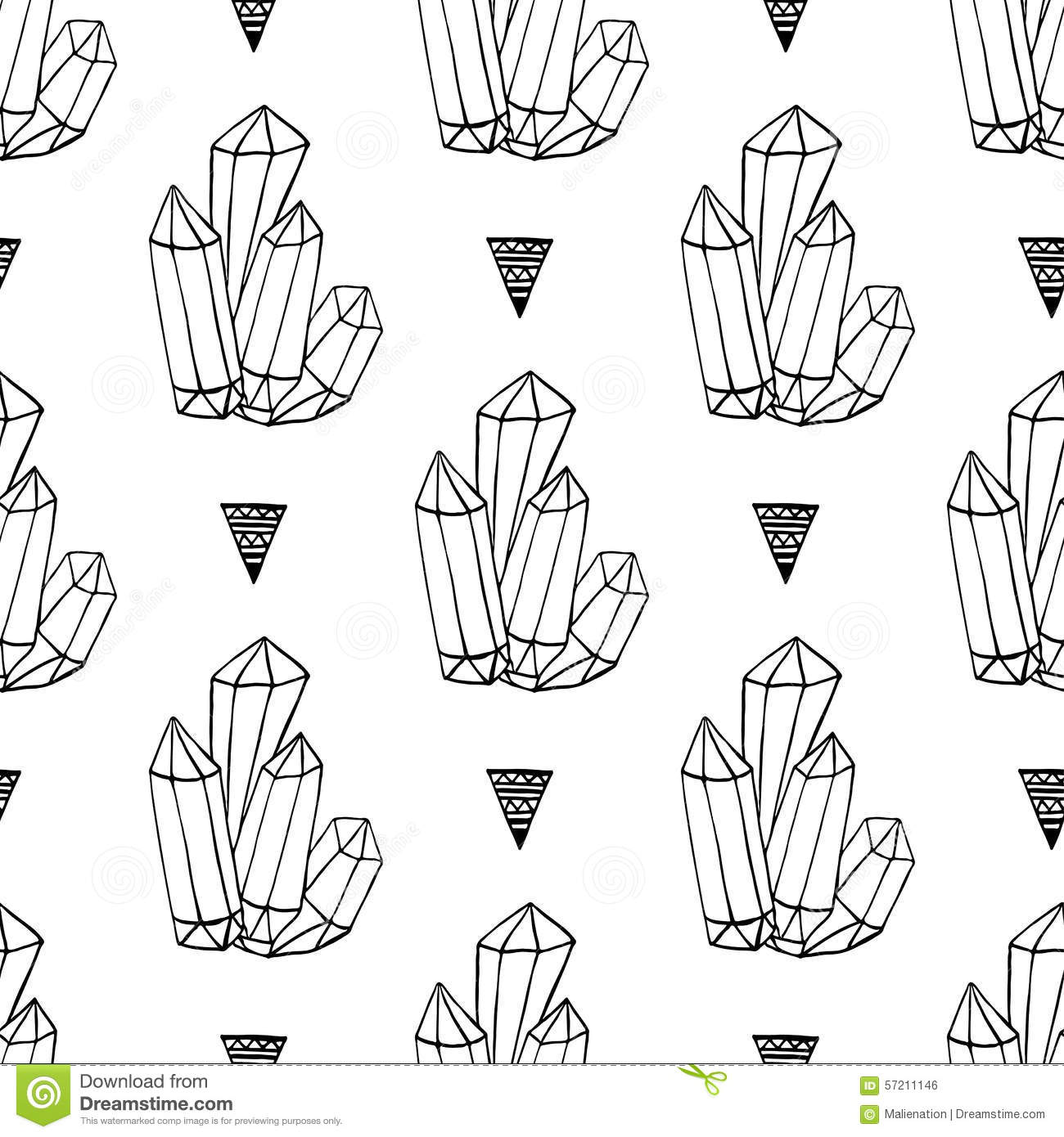 Black And White Crystals Minerals Rocks Hand Drawn Vector