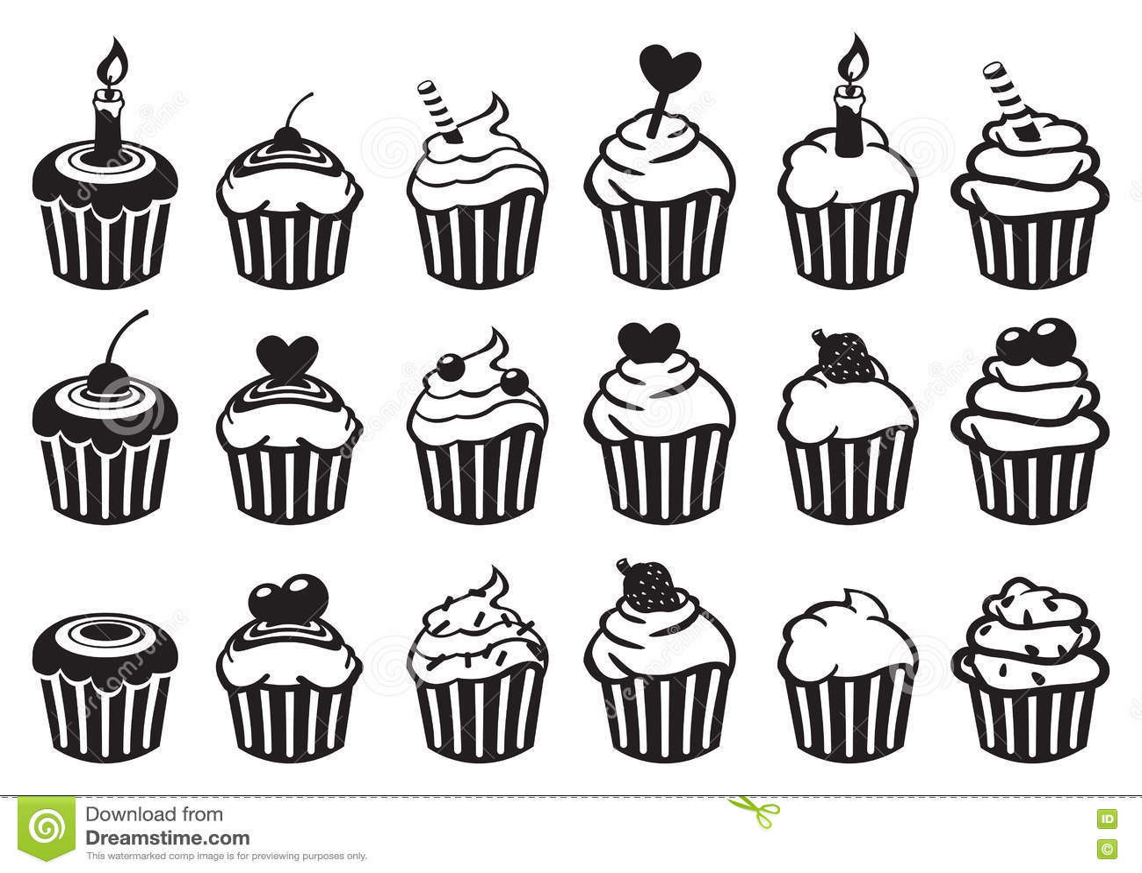 Black And White Cupcake Vector Icon Set Stock Vector