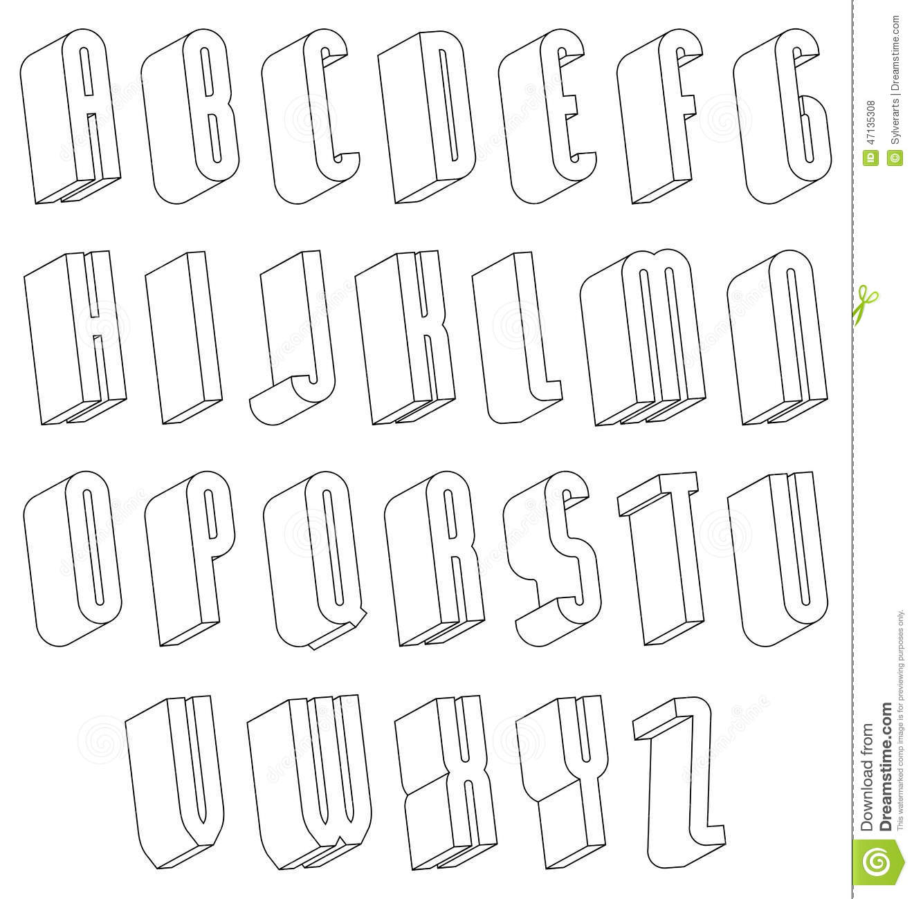 Black And White 3d Font Made With Thin Lines. Stock Vector