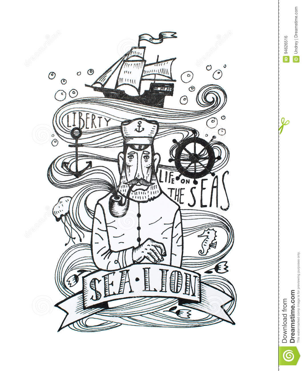 Black And White Drawing Of Captain Smoking A Pipe With Sea