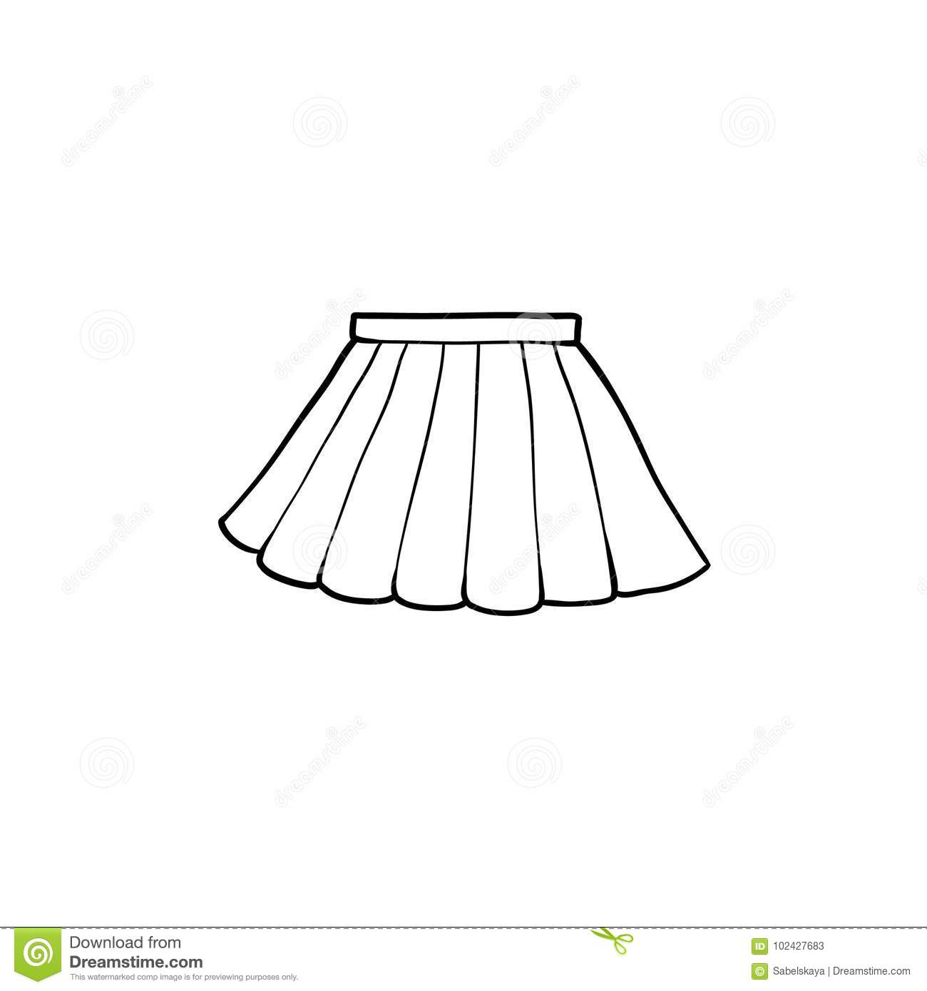 Black And White Drawing Of Pleated Mini Skirt Stock Vector