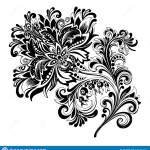 Black And White Ethnic Flower With Pattern Stock Vector Illustration Of Pattern Retro 143701491