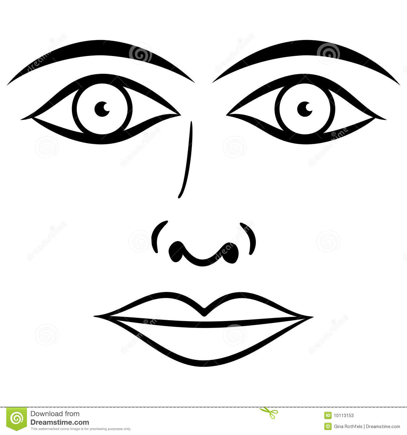 Black And White Face Vector Stock Vector