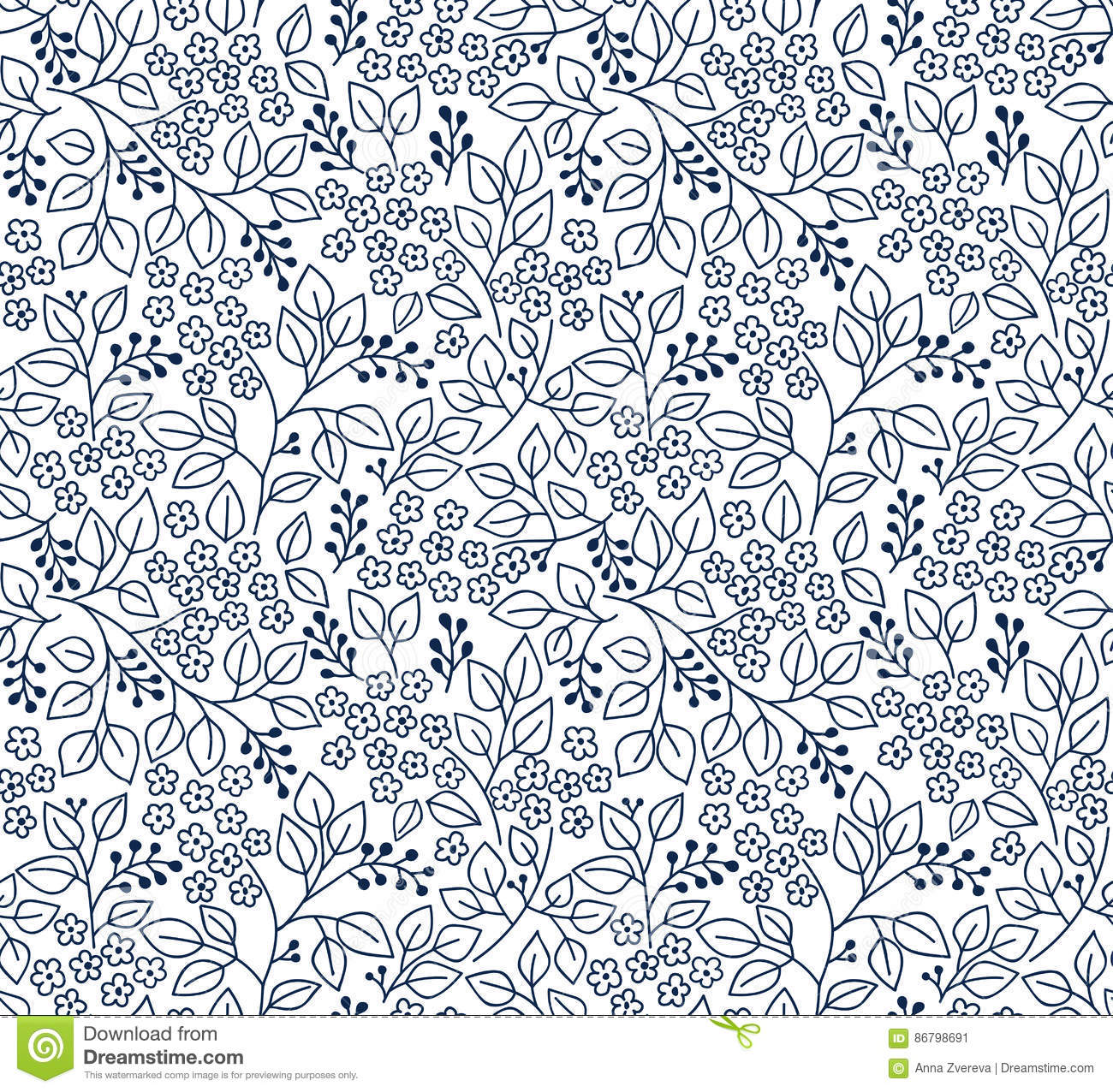 Black And White Floral Pattern Stock Vector