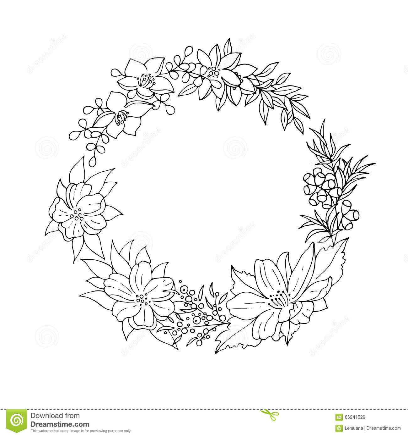 Black And White Floral Wreath Stock Vector