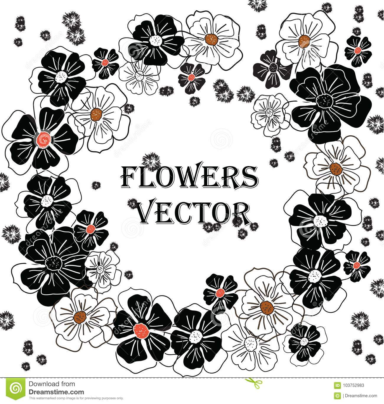 Black And White Flowers In A Contemporary Style Stock
