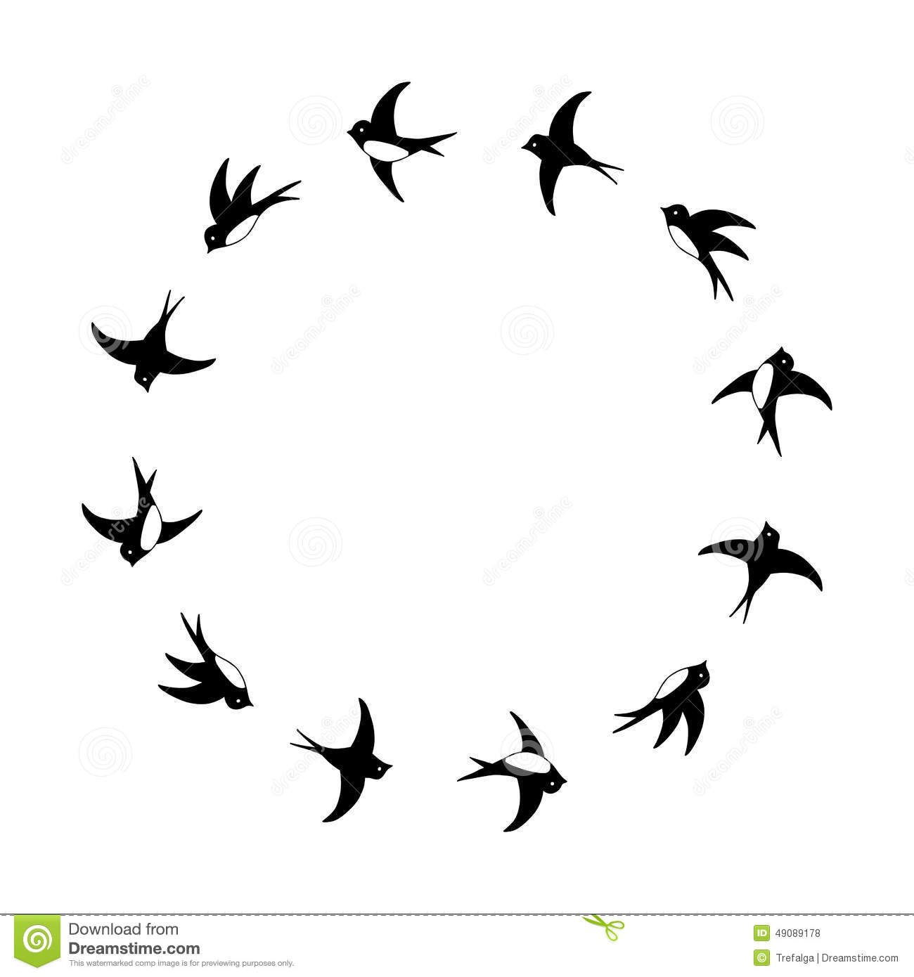 Black And White Flying Swallows Circle Frame Stock Vector