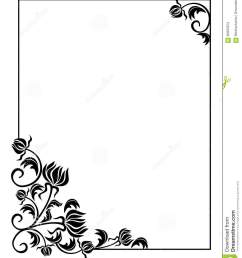 black and white frame with flowers silhouettes copy space raster clip art  [ 1089 x 1300 Pixel ]