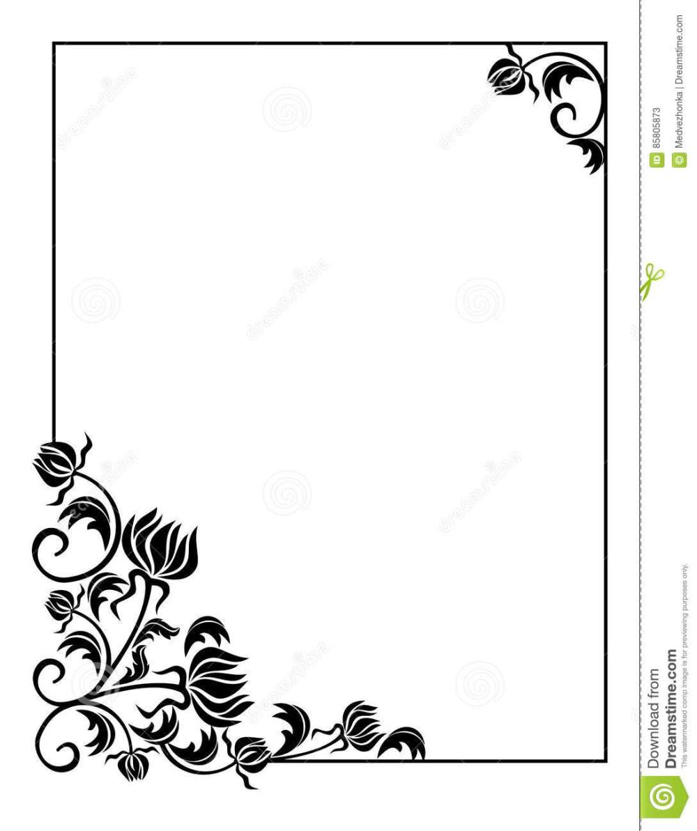 medium resolution of black and white frame with flowers silhouettes copy space raster clip art