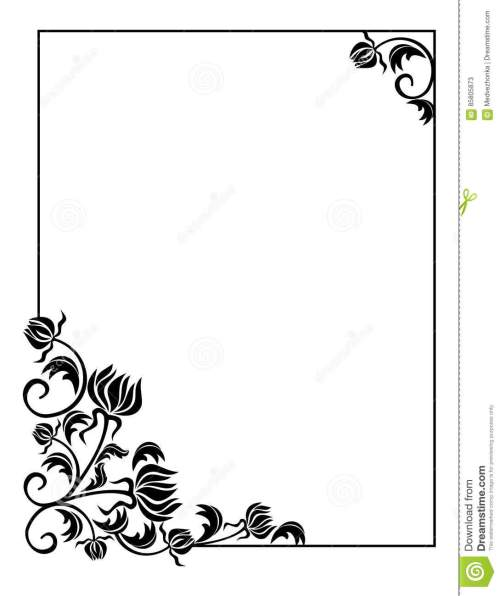 small resolution of black and white frame with flowers silhouettes copy space raster clip art