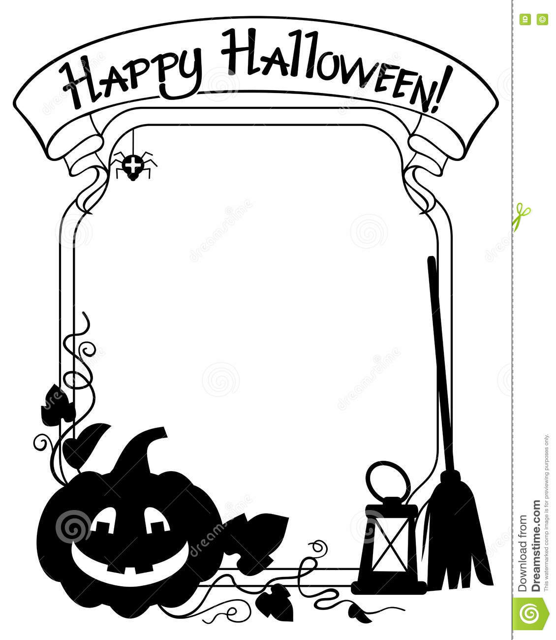 Black And White Frame With Halloween Pumpkin Silhouette