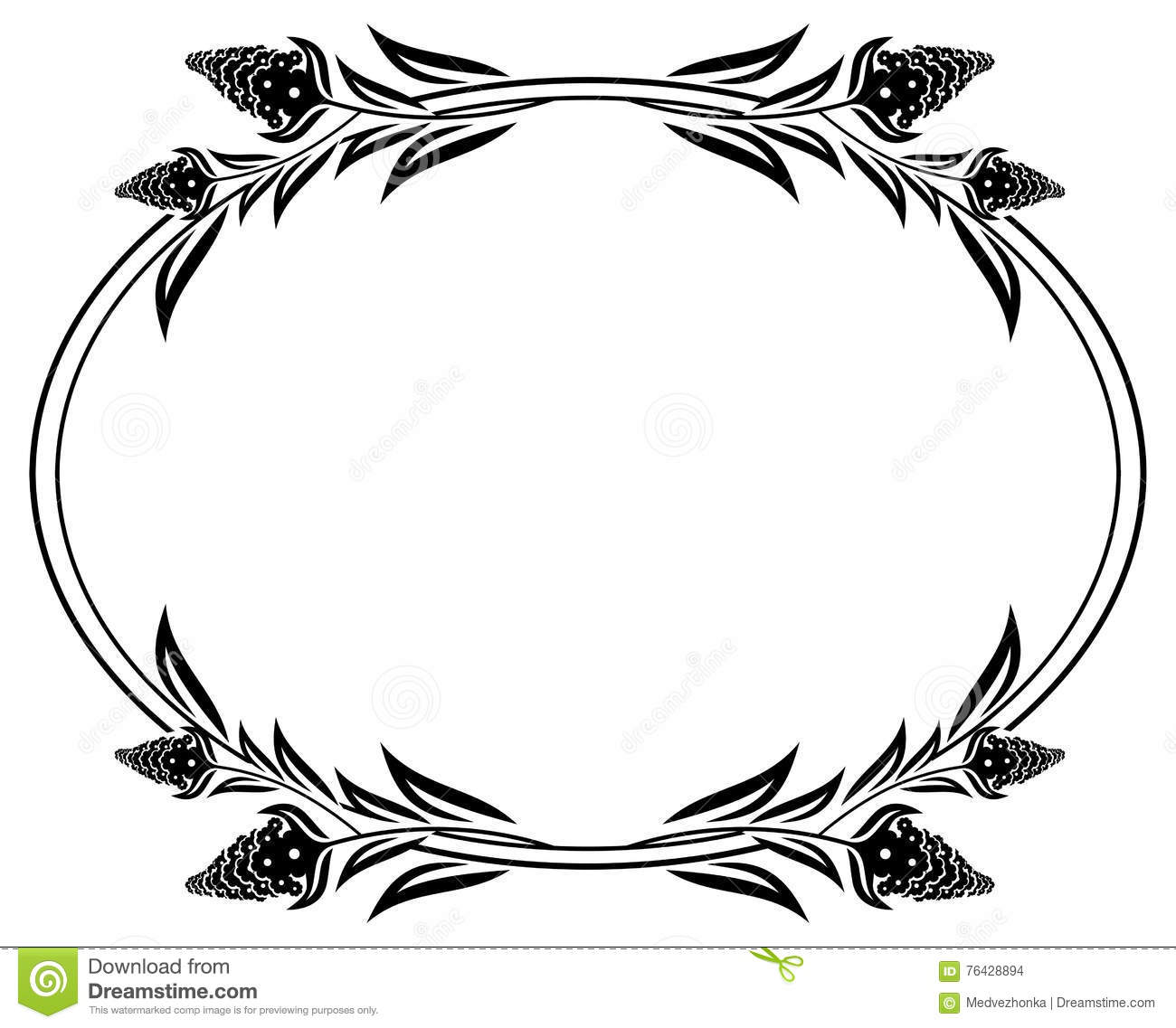 Black And White Frame Outline Decorative Flowers Stock