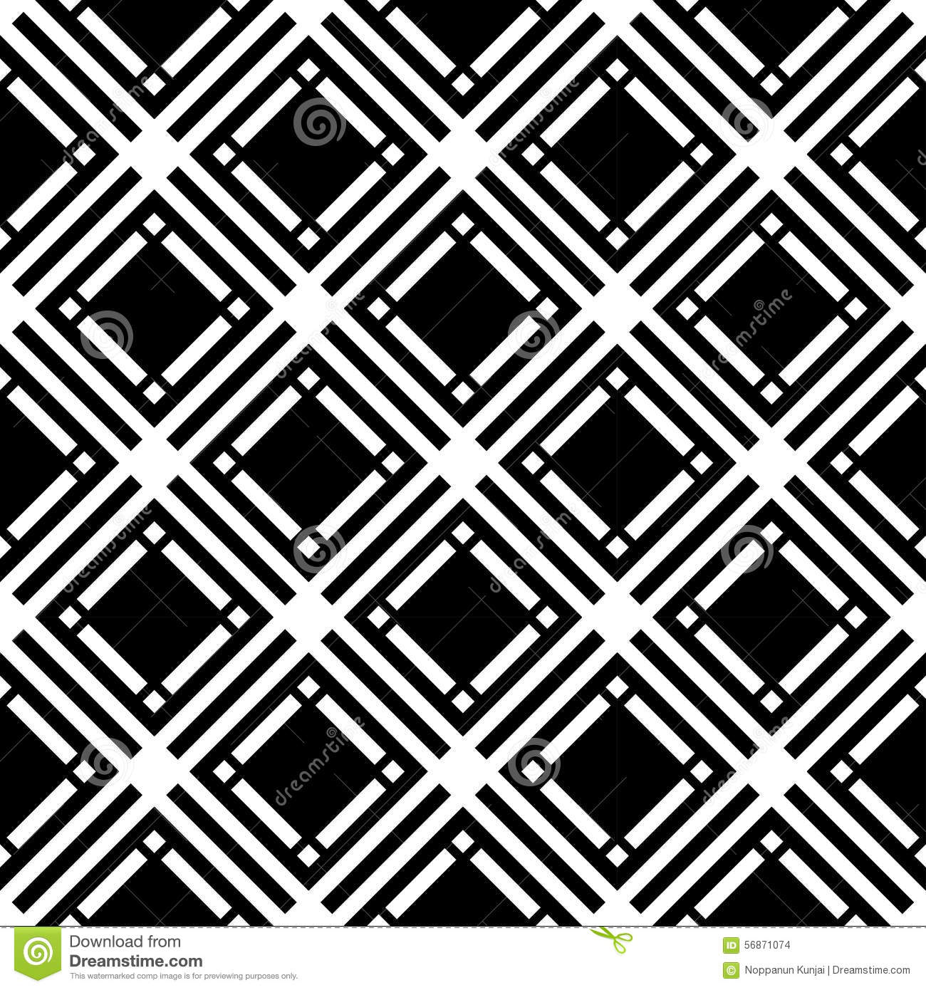 Black And White Geometric Seamless Pattern With Square And