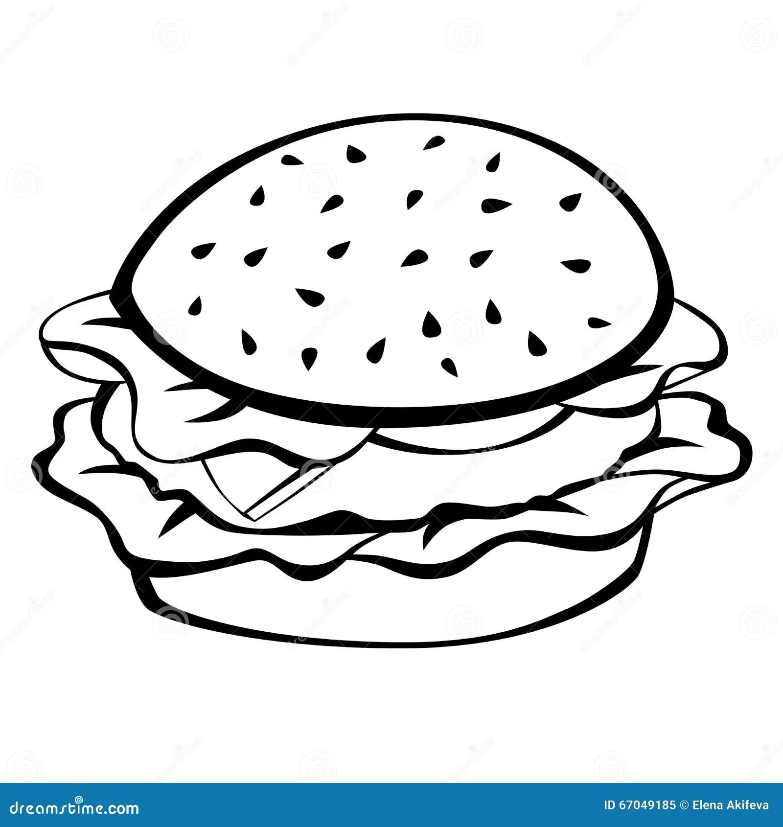 Black White Hamburger Food Illustration Stock Vector