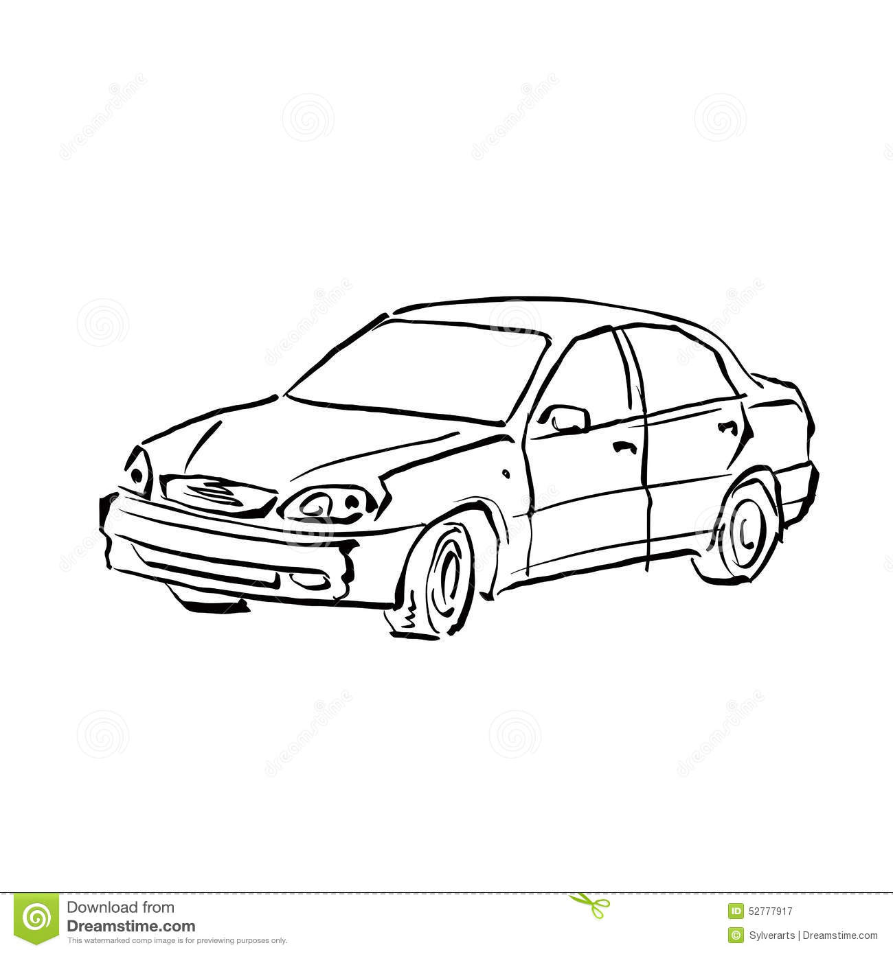 Black And White Hand Drawn Car On White Background
