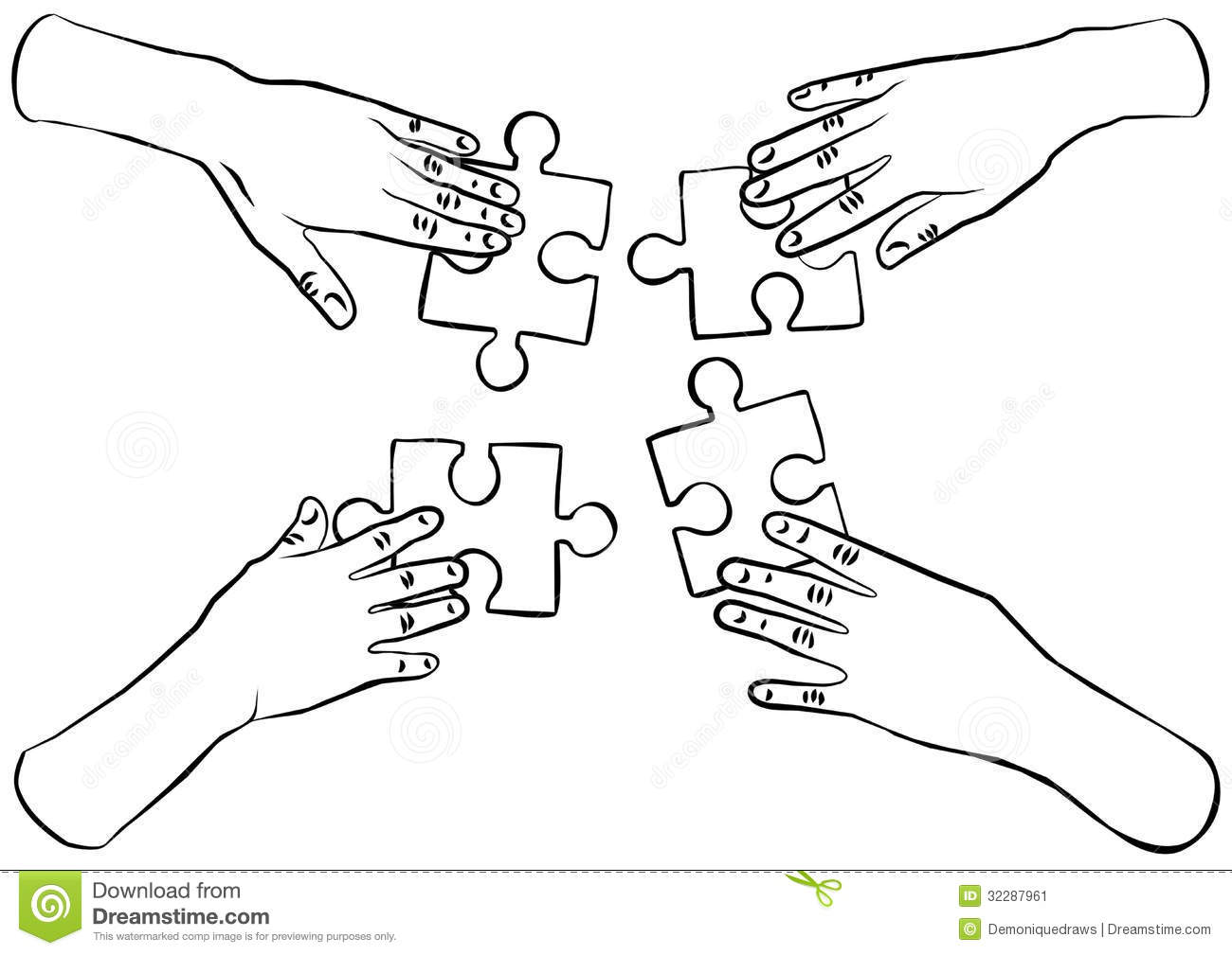 Black And White Hands With Puzzles Teamwork Stock Image