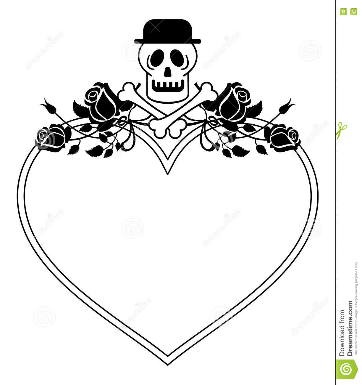 Black And White Heart Shaped Frame With Skull In Hat And