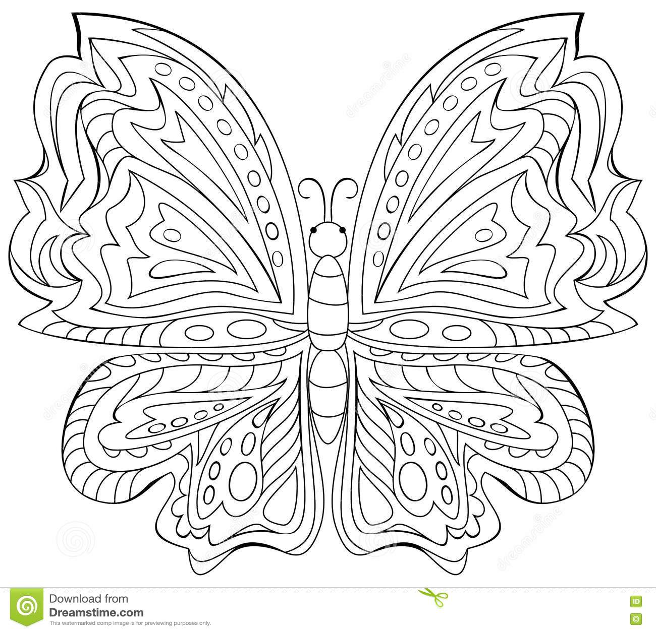 Black And White Illustration Of Butterfly For Coloring
