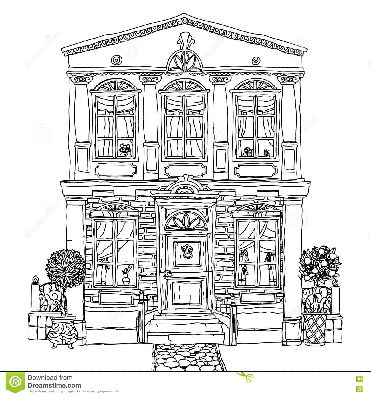 Black And White Illustration Of A House. Vector. Stock