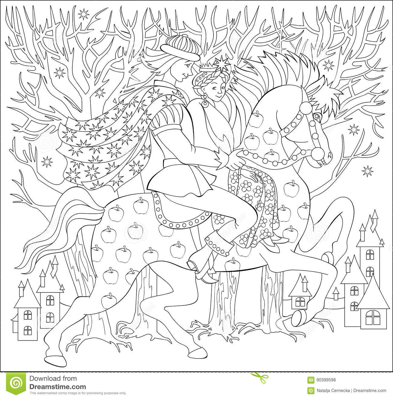 Black And White Illustration Of Prince And Princes Riding