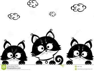 kittens cat silhouette cute illustration vector kitten three cats royalty cartoon sitting patterns dreamstime preview tail